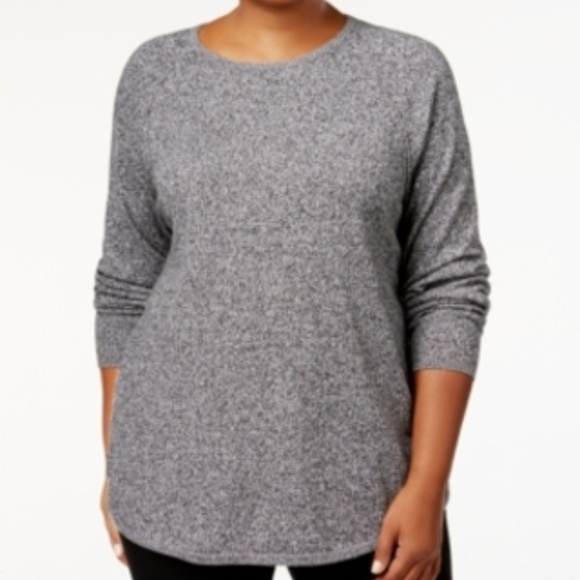 Karen Scott Sweaters - Karen Scott Curved Hem Marled Scoop Neck Sweater